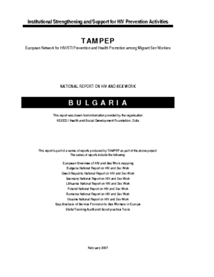 2007: Bulgaria National Report on HIV and Sex Work