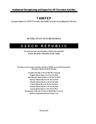 2007: Czech Republic National Report on HIV and Sex Work