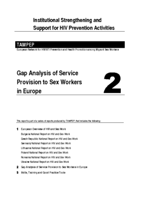 2007: Gap Analysis of Service Provision to Sex Workers in Europe