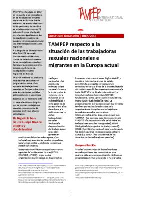 2015: TAMPEP paper ESP