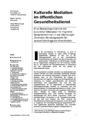 1999: Kulturelle Mediation im Öffentlichen Gesundheitsdienst (DE)