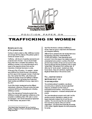 2005: Position paper on Trafficking in Women