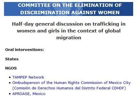 TAMPEP Network takes the floor in Geneva. TAMPEP considers migrant sex workers t…