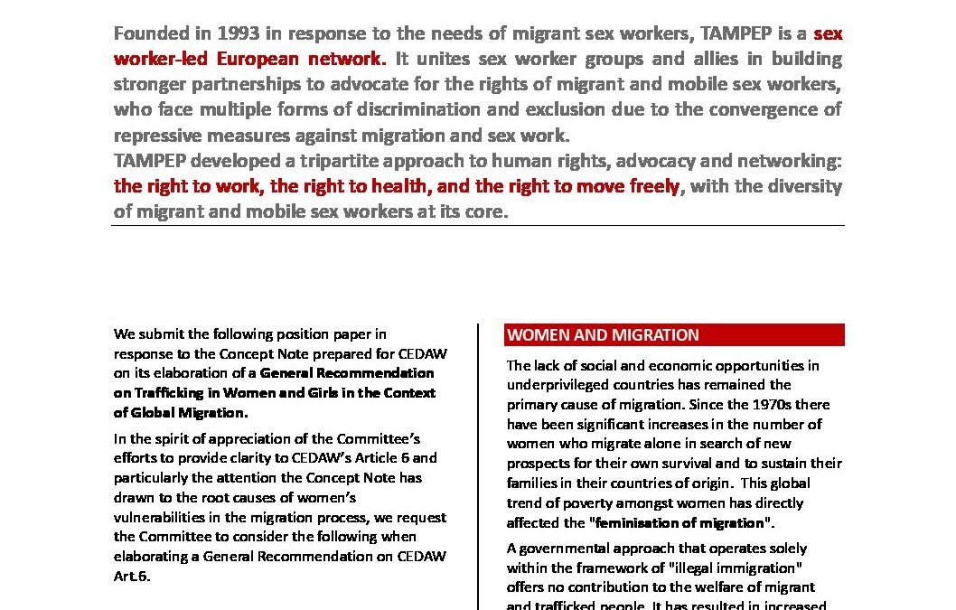 TAMPEP Position paper CEDAW 2019