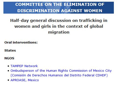 TAMPEP Network takes the floor in CEDAW hearing in Geneva