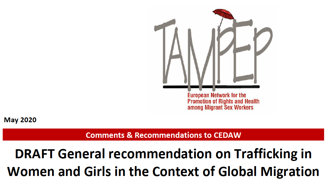 TAMPEP Submits Comments & Recommendations to CEDAW Draft Recommendation on Trafficking in Women and Girls in the Context of Global Migration