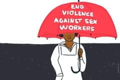 Kuvan mahdollinen sisältö: tekstissä sanotaan END VIOLENCE AGAINST SEX WORKERS
